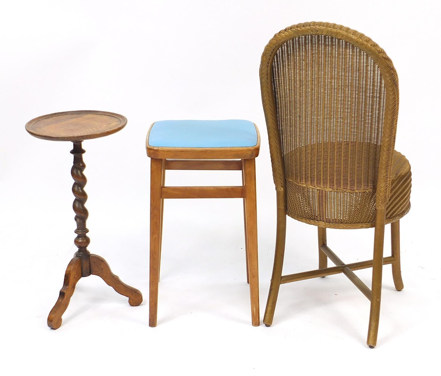Occasional furniture including a Lloyd loom chair and barley twist tripod occasional table, the - Image 3 of 3