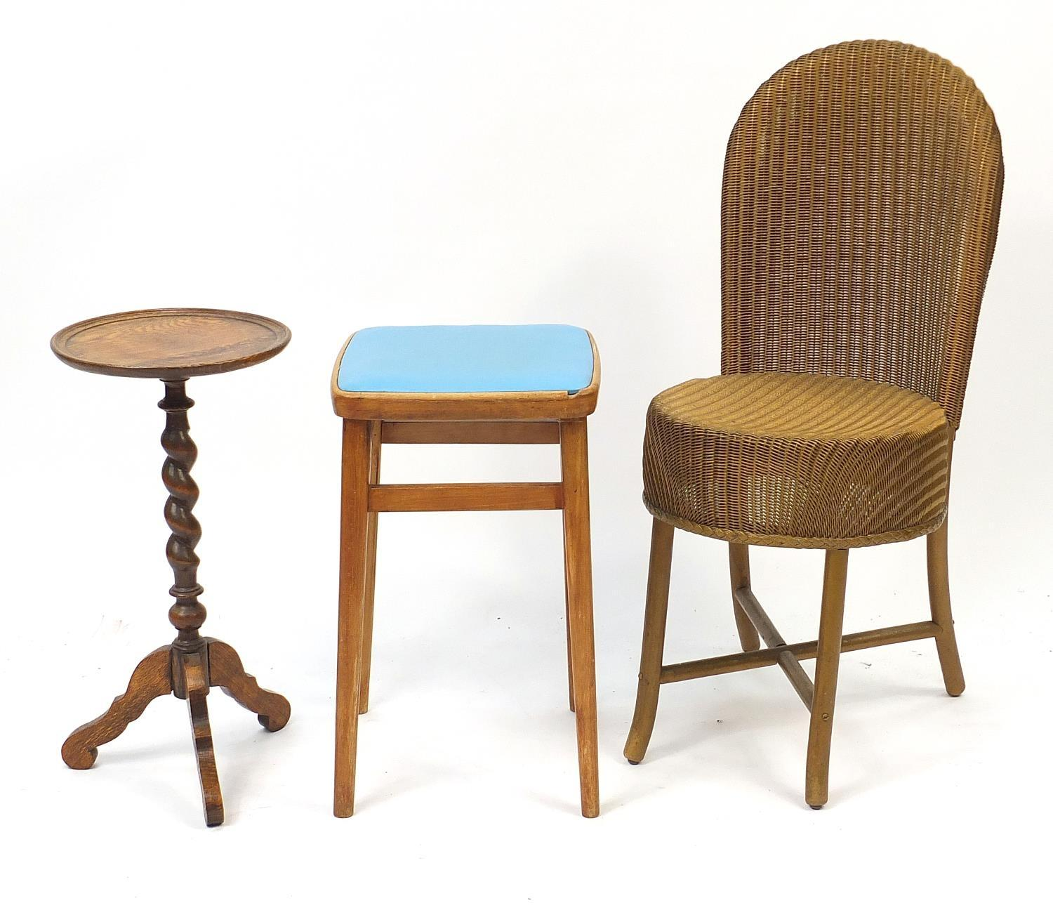 Occasional furniture including a Lloyd loom chair and barley twist tripod occasional table, the