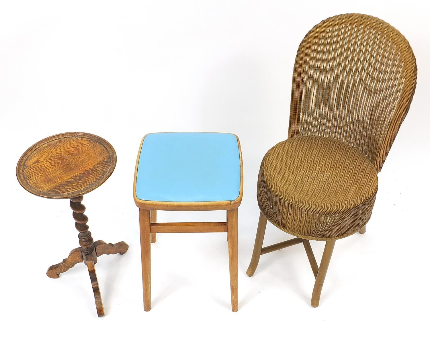 Occasional furniture including a Lloyd loom chair and barley twist tripod occasional table, the - Image 2 of 3