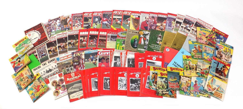 Vintage and later ephemera comprising Arsenal Football programmes and Bunty magazines :