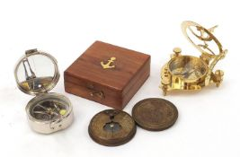 Three naval/military interest compasses including two with sundials :