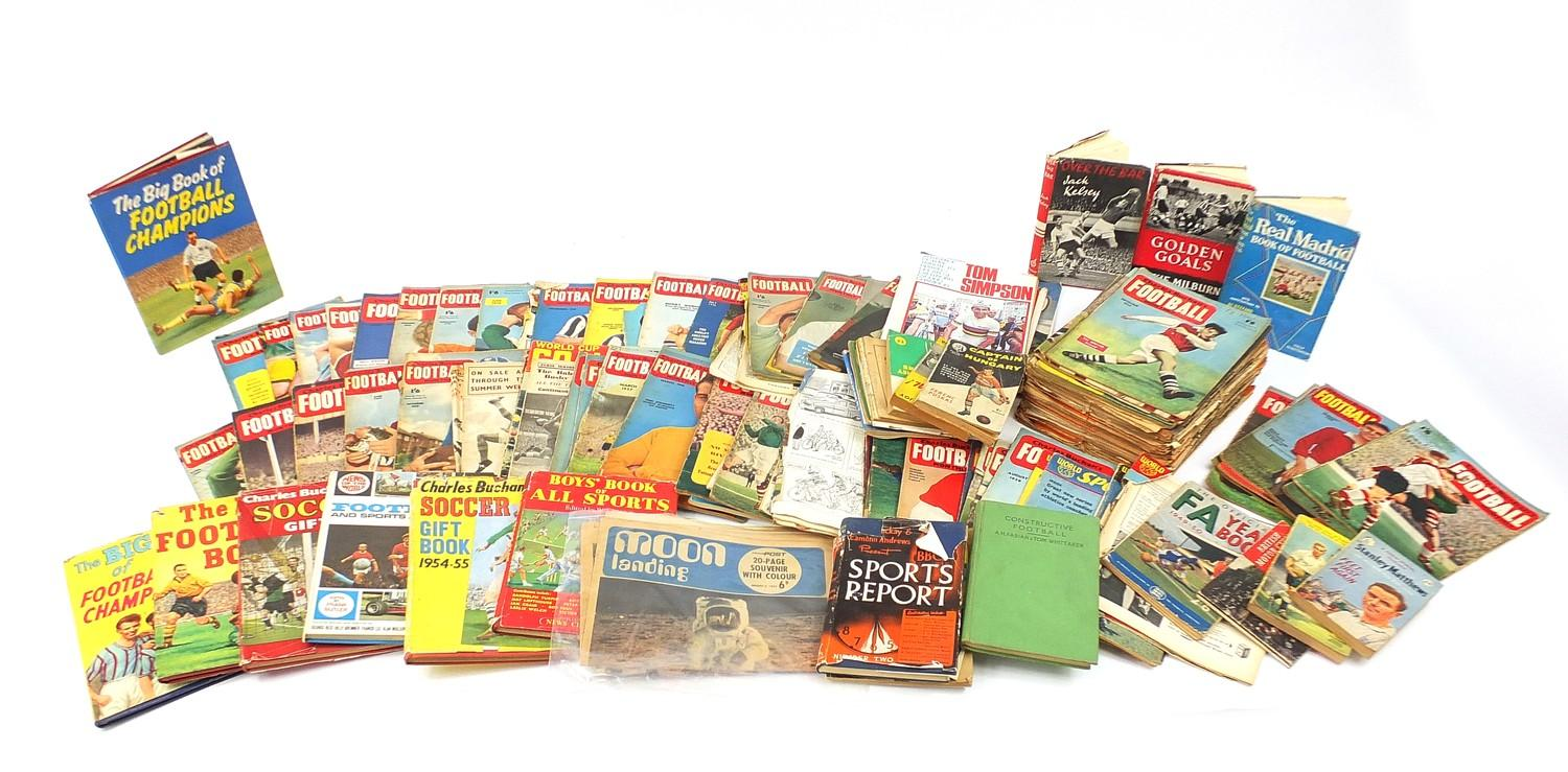 Collection of vintage and later football related books and magazines including The Real Madrid and