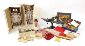 Vintage and later toys including a large model Hawker Hurricane, Meccano, two bisque head