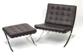 Chrome Barcelona chair and footstool with lift off cushions designed by Ludwig Mies Van Der Rohe and