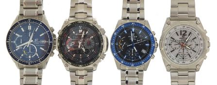 Four gentlemen's Casio Edifice wristwatches, three with boxes and paperwork, models EFR-545, ECW-
