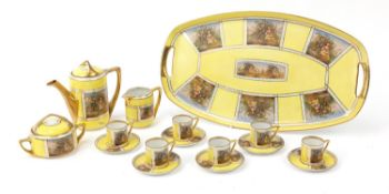Czechoslovakian Royal Vienna style yellow cabaret set decorated with lovers comprising a coffee pot,