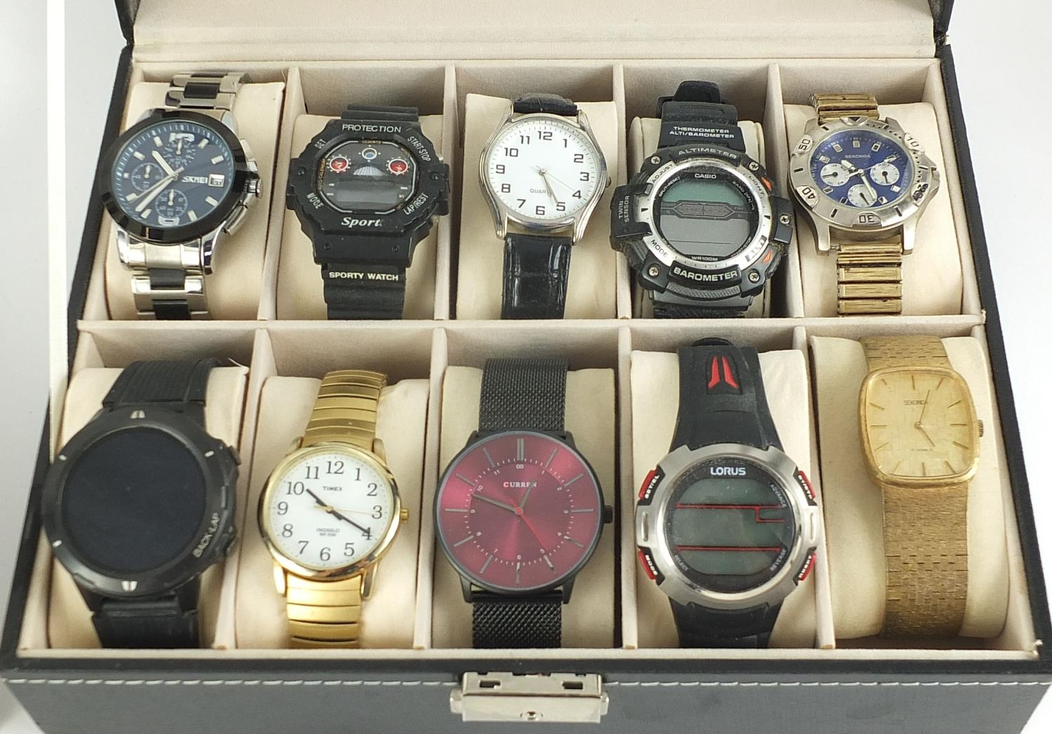 Twenty vintage and later gentlemen's wristwatches housed in two display cases, including Sekonda, - Image 3 of 5