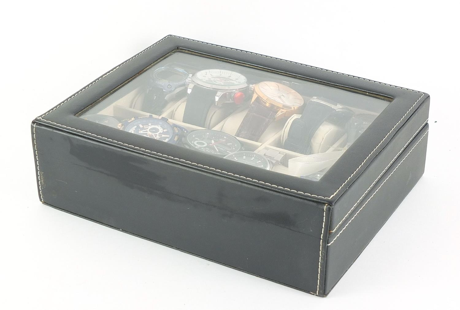 Ten gentlemen's wrist watches housed in a display case, including Megalith, Casio and Timex :For - Image 4 of 4