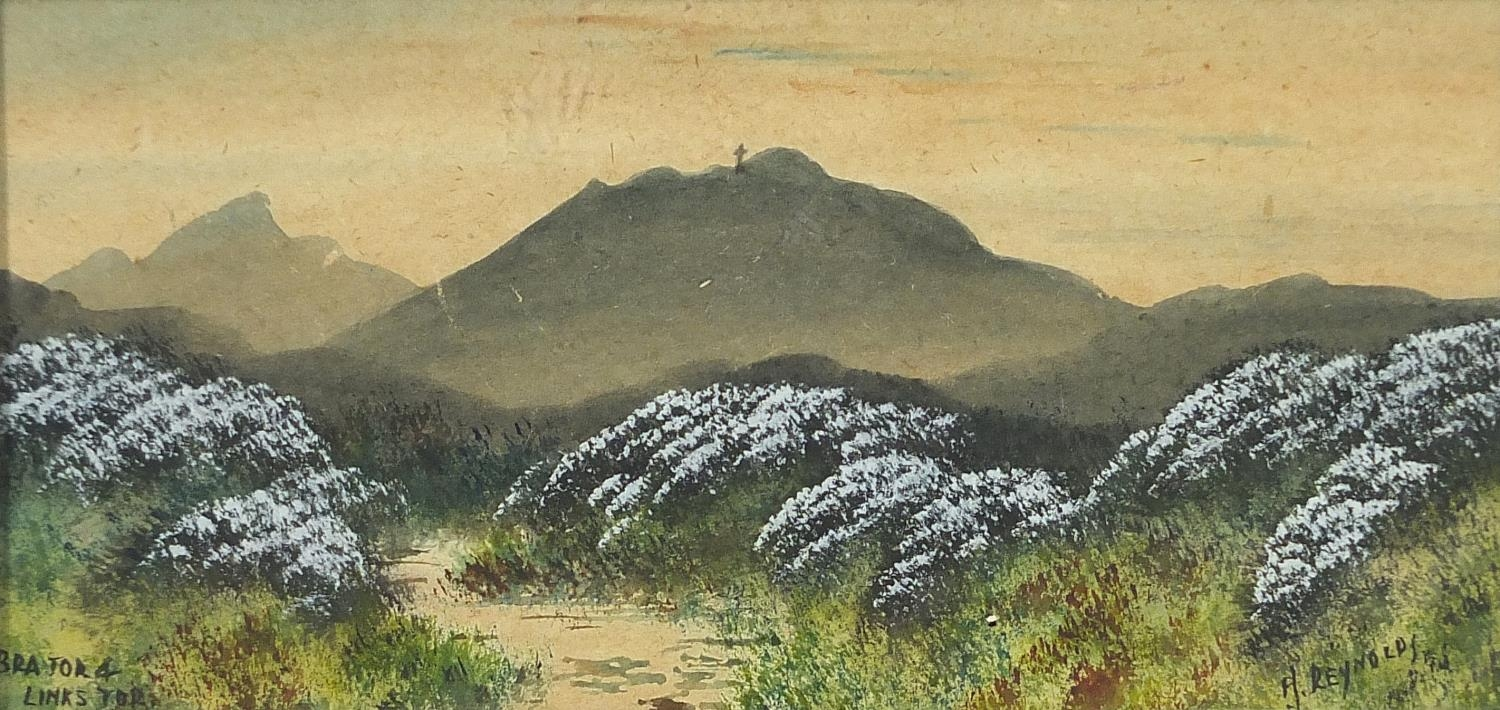 H Reynolds - Brent Tor landscapes, two heightened watercolours, framed and glazed, each - Image 7 of 11