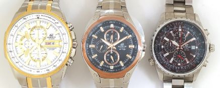 Casio Edifice, three gentlemen's wristwatches with boxes numbered 4044B7, 76E33P and 69C7F7 :For