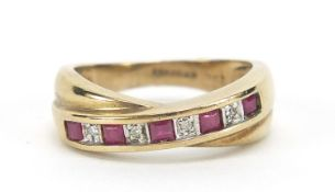 9ct gold ruby and diamond crossover half eternity ring, size J, 2.6g :For Further Condition