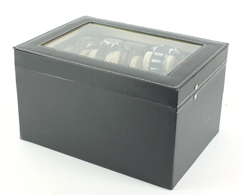 Fifteen gentlemen's wristwatches housed in a display case including Casio, Skmei, Weide and Biden : - Image 5 of 5