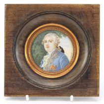 French circular hand painted portrait miniature of Louis XVI, mounted and framed, the miniature