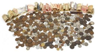 Collection of antique and later British and world coinage and banknotes together with a metal toilet