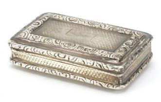 Joseph Willmore, George IV silver snuff box with hinged lid, engine turned decoration and gilt