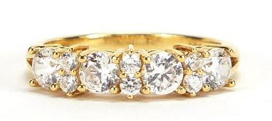 18ct gold cubic zirconia half eternity ring, size N, 3.5g :For Further Condition Reports Please