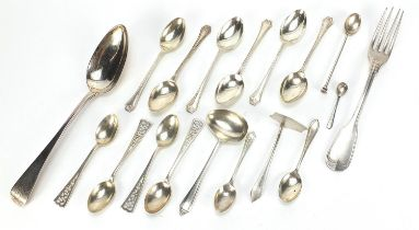 Georgian and later silver flatware including 1810 tablespoon, set of six teaspoons by Wilmot