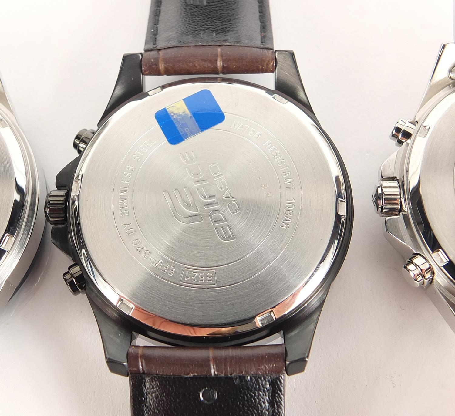 Casio Edifice, three gentlemen's wristwatches with boxes numbered 76E2AU, 776KM0 and 881CK2 :For - Image 6 of 8