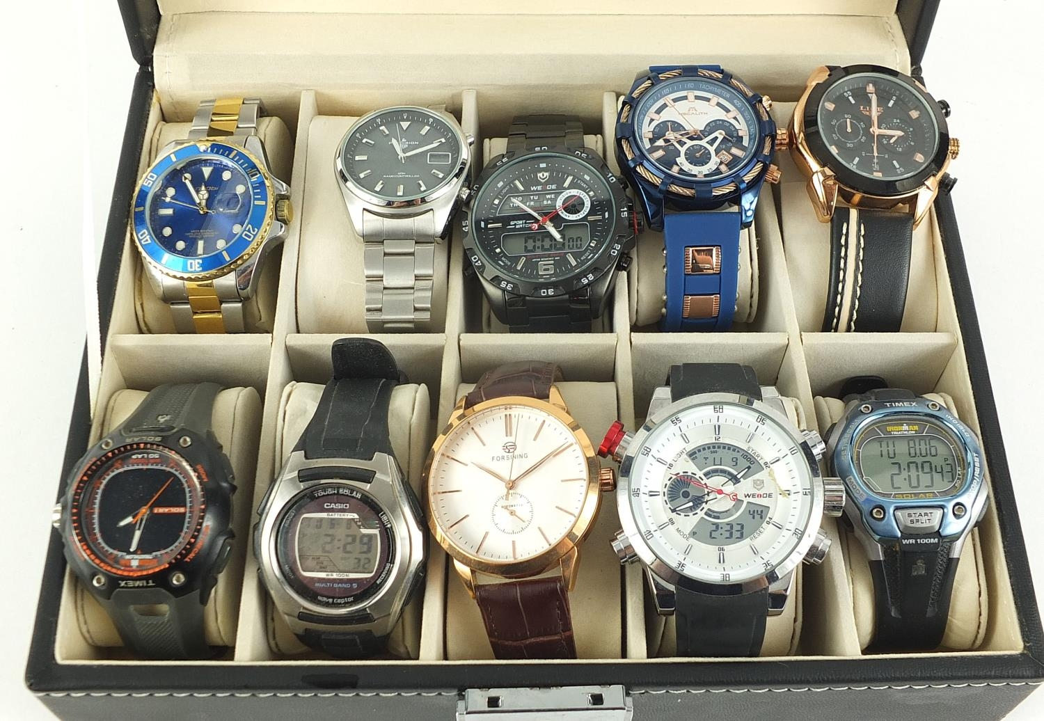 Ten gentlemen's wrist watches housed in a display case, including Megalith, Casio and Timex :For - Image 2 of 4