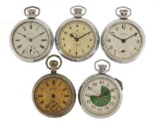 Five vintage and later Ingersoll pocket watches and a stopwatch, the largest 51mm in diameter :For