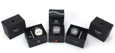 Three gentlemen's Accurist wristwatches with boxes and paperwork comprising World Time MS1031B,