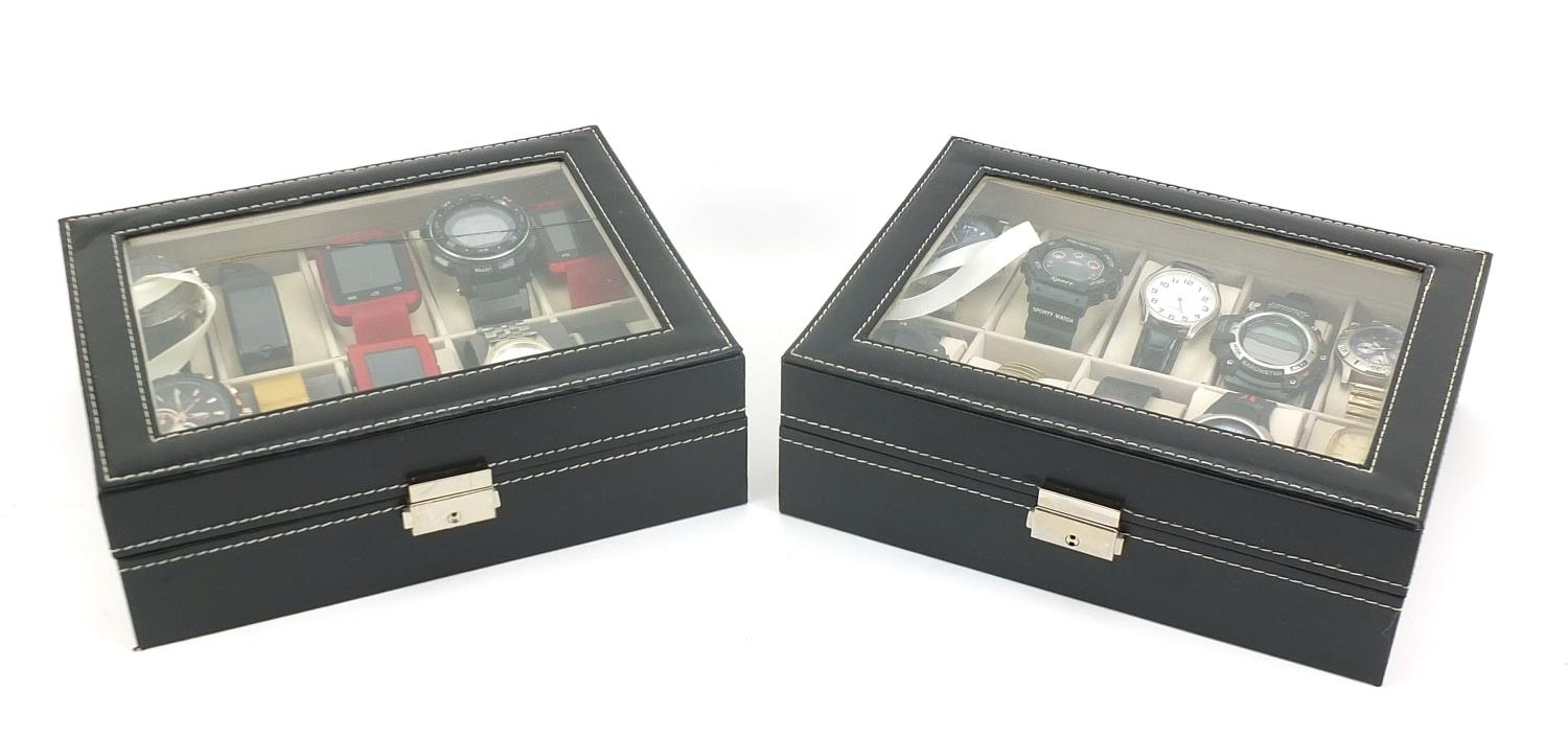 Twenty vintage and later gentlemen's wristwatches housed in two display cases, including Sekonda, - Image 4 of 5