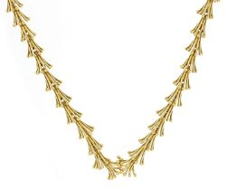 John Donald, Modernist 18ct gold necklace housed in a John Donald velvet and silk lined box, 38cm in
