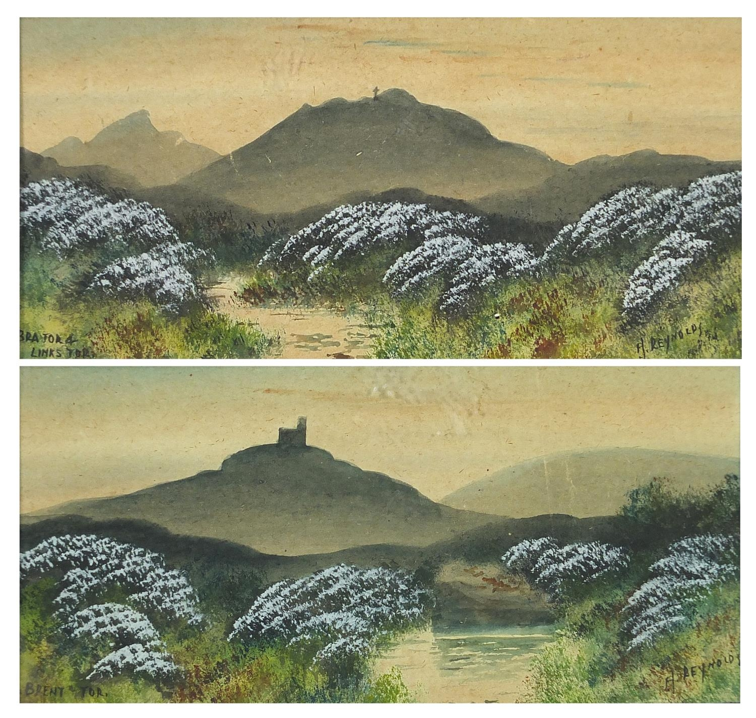 H Reynolds - Brent Tor landscapes, two heightened watercolours, framed and glazed, each