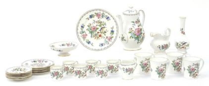 Aynsley Pembroke teaware including coffee pot, coffee cans, saucers and a jug, the largest 23cm high
