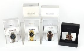 Four gentlemen's Accurist wristwatches with boxes and paperwork comprising MS632, MB032B, MS732B and