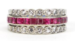 Unmarked white metal triple eternity hinged ring set with rubies, blue sapphires and white