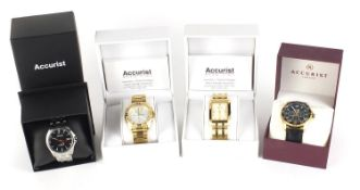 Four gentlemen's Accurist wristwatches with boxes and paperwork comprising Chronograph MB759S,
