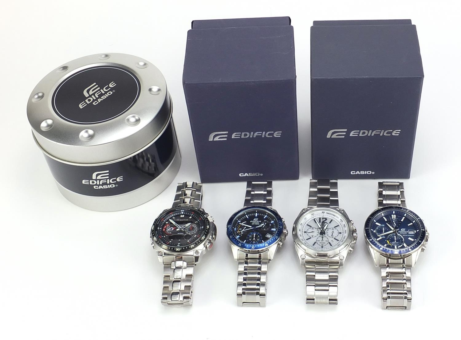 Four gentlemen's Casio Edifice wristwatches, three with boxes and paperwork, models EFR-545, ECW- - Image 6 of 6