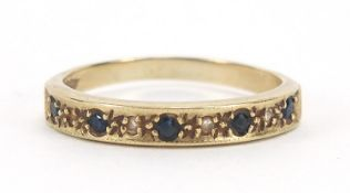 9ct gold sapphire and diamond half eternity ring, size J, 1.3g :For Further Condition Reports Please