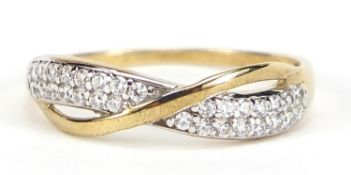 9ct gold cubic zirconia half eternity crossover ring, size O, 1.4g :For Further Condition Reports