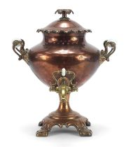 19th century copper and brass samovar impressed Warranted Best London Manufacture to the inside of