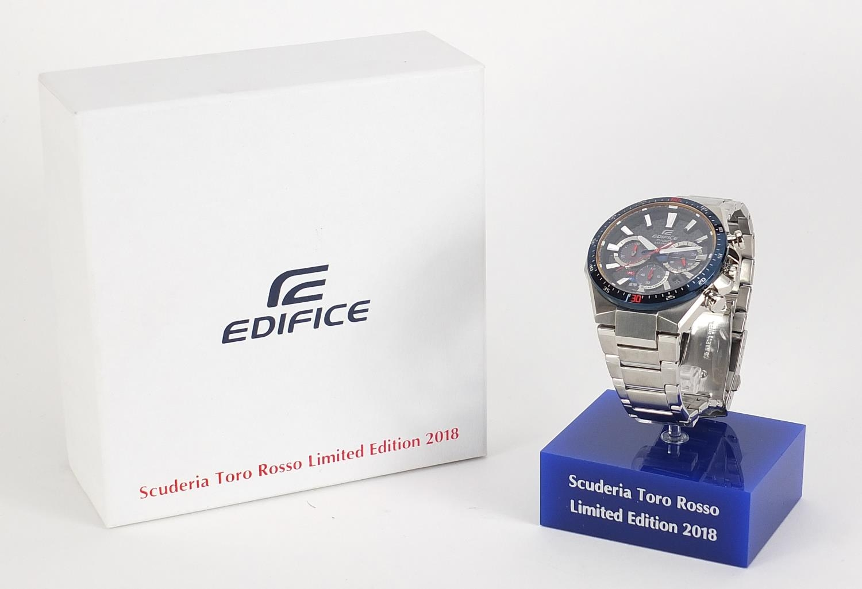 Casio Edifice, gentlemen's Scuderia Toro Rosso solar 2018 limited edition wristwatch with box, - Image 6 of 6