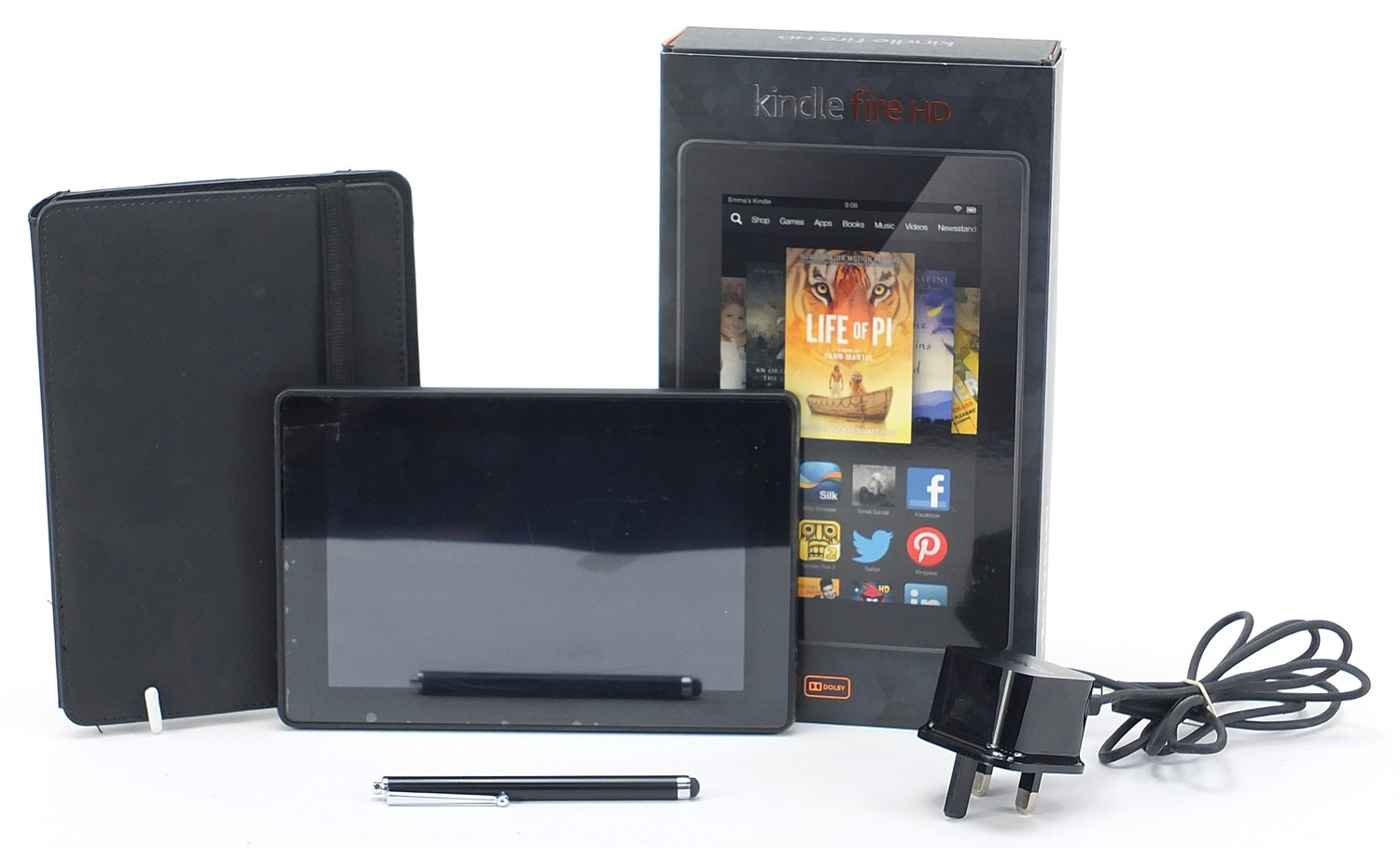 Amazon Kindle Fire HD with charger and box :For Further Condition Reports Please Visit Our