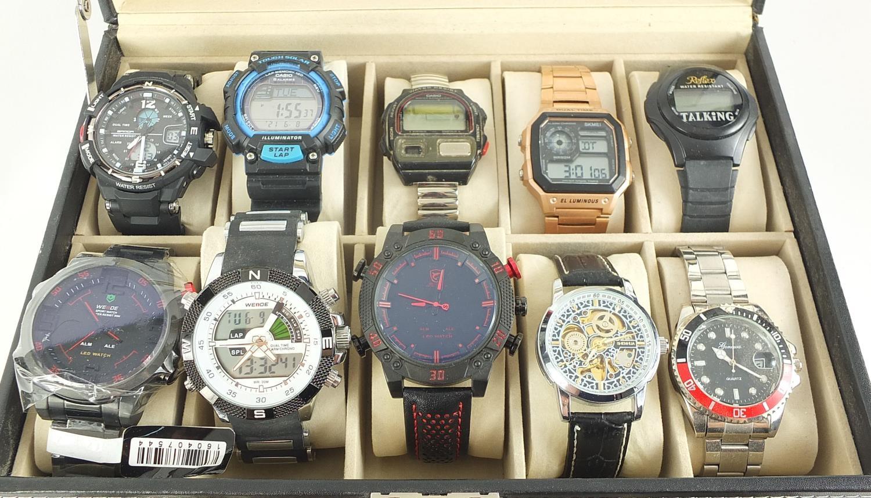 Fifteen gentlemen's wristwatches housed in a display case including Casio, Skmei, Weide and Biden : - Image 2 of 5