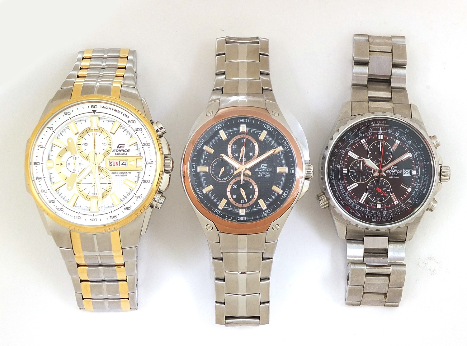 Casio Edifice, three gentlemen's wristwatches with boxes numbered 4044B7, 76E33P and 69C7F7 :For - Image 2 of 7