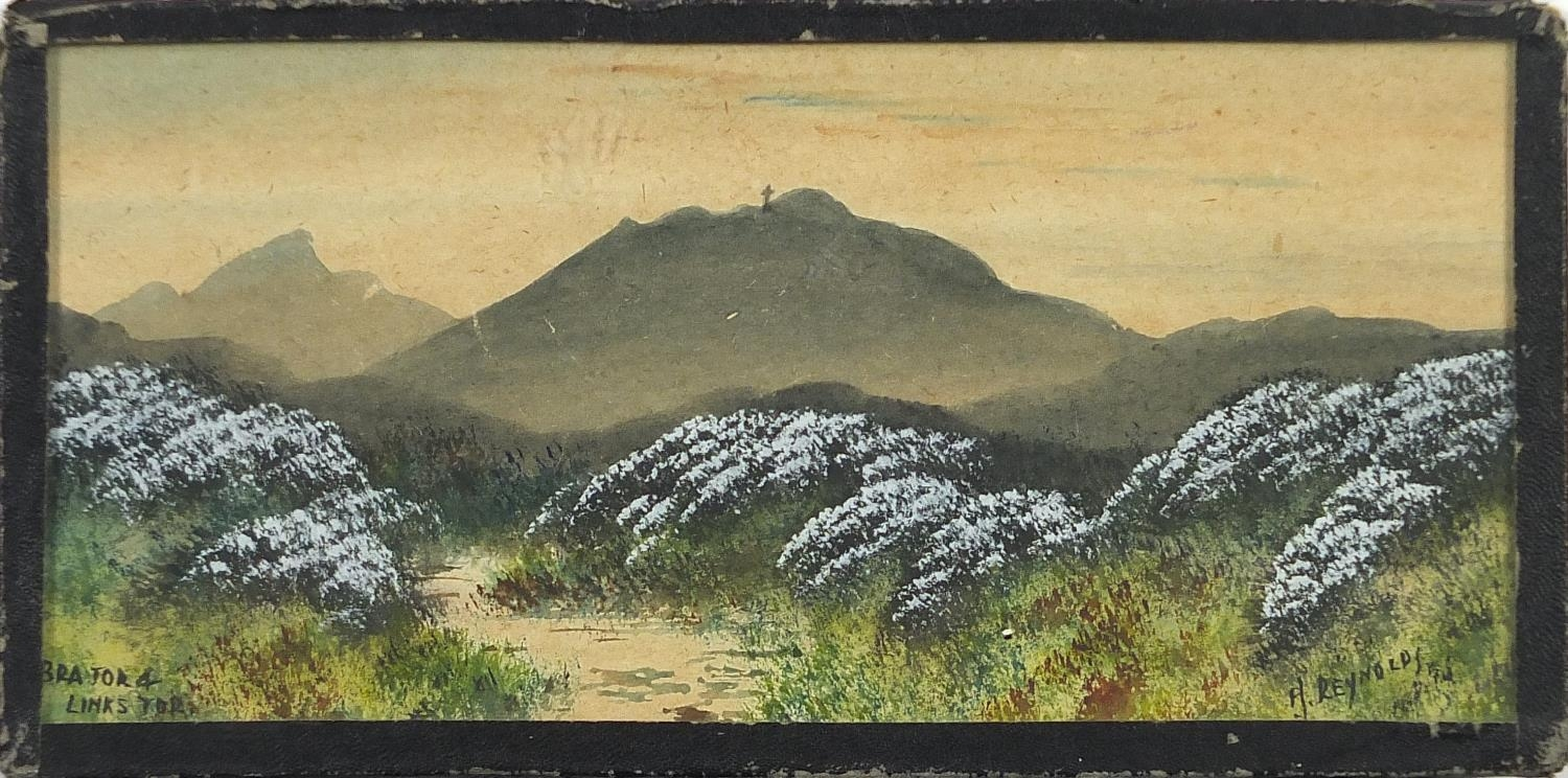 H Reynolds - Brent Tor landscapes, two heightened watercolours, framed and glazed, each - Image 8 of 11