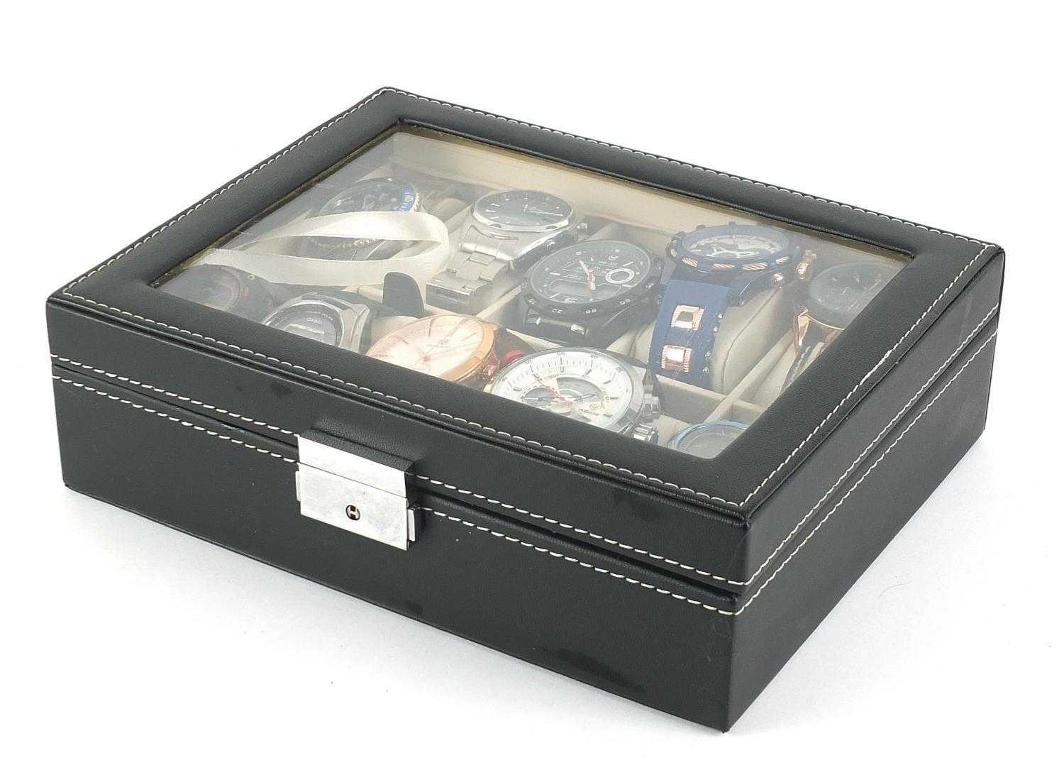 Ten gentlemen's wrist watches housed in a display case, including Megalith, Casio and Timex :For - Image 3 of 4