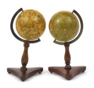 Wrench's of London, pair of 19th century celestial and terrestrial desk globes, each with brass