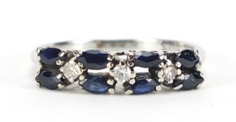 18ct white gold sapphire and diamond two row half eternity ring, size L, 2.1g :For Further Condition