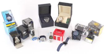 Ten gentlemen's wristwatches with boxes including three Casio, Sea-Pathfinder, So & Co, Time Co