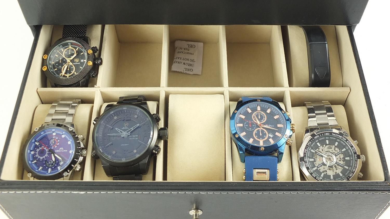Fifteen gentlemen's wristwatches housed in a display case including Casio, Skmei, Weide and Biden : - Image 3 of 5