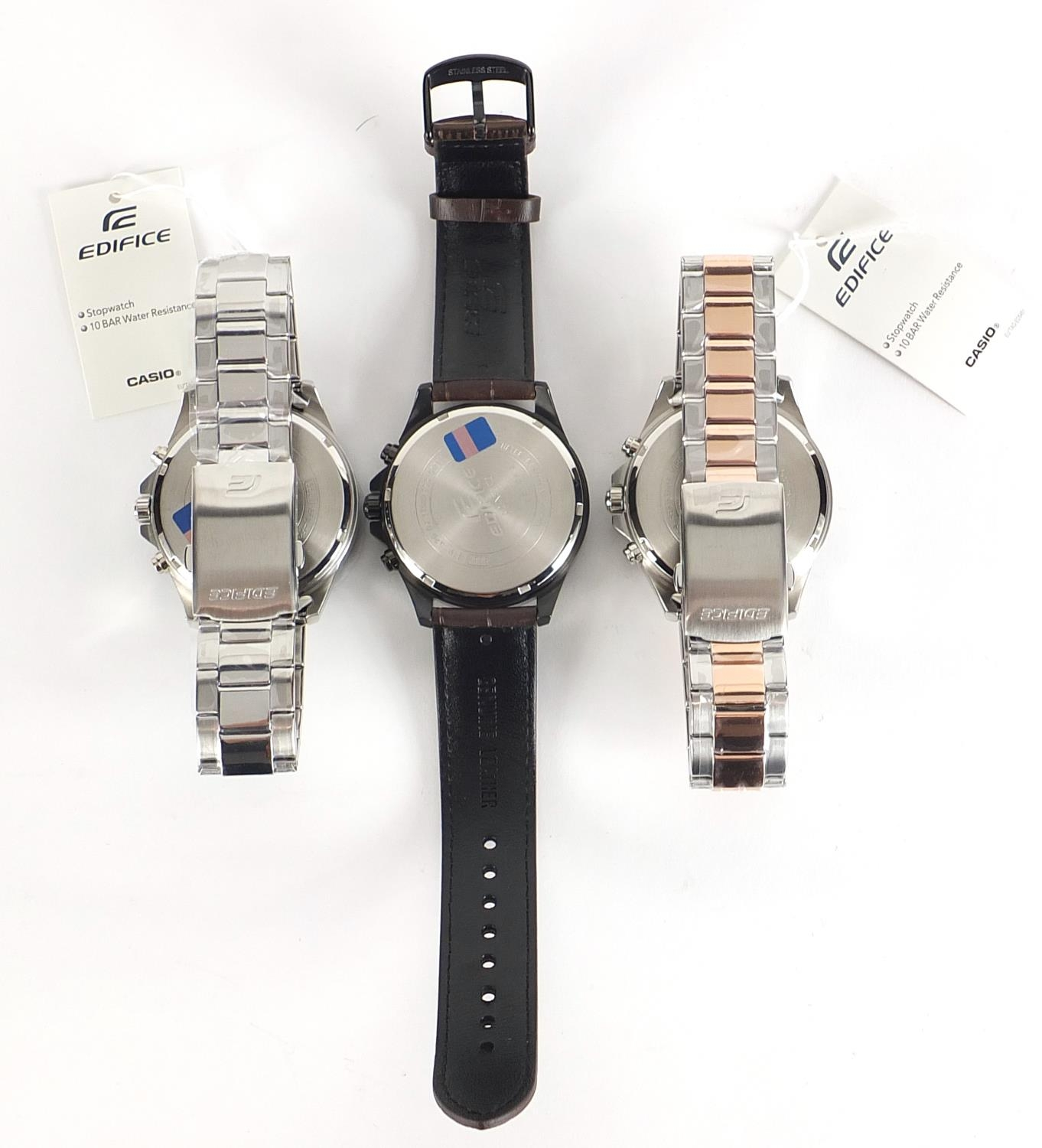 Casio Edifice, three gentlemen's wristwatches with boxes numbered 76E2AU, 776KM0 and 881CK2 :For - Image 5 of 8