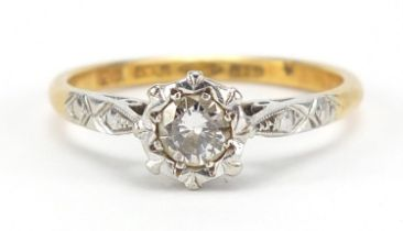 18ct gold and platinum diamond solitaire ring, the diamond approximately 4mm in diameter, size K,