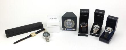 Six gentlemen's wristwatches with boxes comprising Pulsar Chronograph Solar, Sekonda 3101BLT,