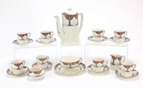 Crown Ducal, Art Deco Tall Trees eight place coffee service and a teacup with saucer, the coffee pot